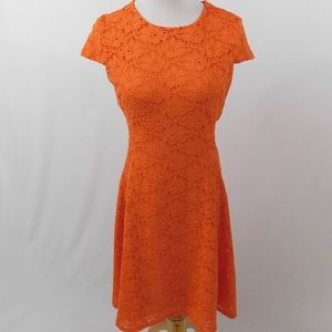 Alfani Orange Floral Cap Sleeve Lace Dress